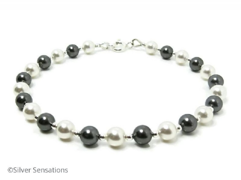 Dark Grey & White Pearls Wedding Bracelet With Swarovski Pearls & Sterling Silver
